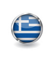 flag of greece button with metal frame and shadow vector image vector image