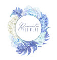 floral blue round banner vector image vector image