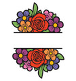 Floral frame or border bouquet flowers