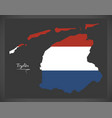 fryslan netherlands map with dutch national flag vector image vector image