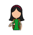 girl school student cartoon young holding backpack vector image vector image