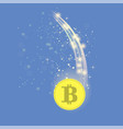 golden bitcoin is falling crypto currency icon vector image