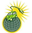 Green electric car on top of world with plug vector image vector image