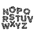 hand drawn wooden alphabet font vector image