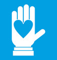 hand with heart icon white vector image vector image
