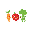 Happy fruit and vegetables characters vector image