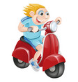 happy man on his moped vector image vector image
