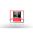 hn h n logo letters with red and black colors and vector image vector image