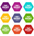 hockey icons set 9 vector image vector image
