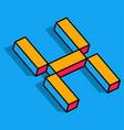 isometric h letter h 3d logo vector image