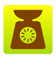 kitchen scales sign brown icon at green vector image
