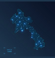 laos map with cities luminous dots - neon lights vector image