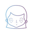 line cute woman head with hairstyle and heart eyes vector image vector image