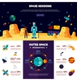 Outer Space Missions Flat Banners Composition vector image