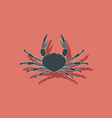 paper sticker on background of crab vector image vector image