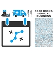 Path Points Calendar Day Icon With 1000 Medical vector image vector image