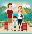 person with travel suitcase vector image