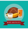 poster breakfast banana juice coffee bread bake vector image vector image