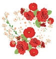 red roses and poppies ornament vector image vector image