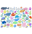 sea animals and fishes doodle marine animals vector image