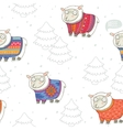 Seamless pattern with cute sheep in knitted vector image