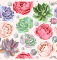 Seamless succulent and peony roses vector image vector image