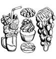 set sweet food with milkshake cupcake vector image