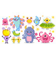set with monsters in cartoon style vector image vector image