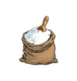 sketch flour bag wooden scoop isolated vector image