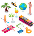 summer vacation isometric icons 02 vector image