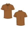 template of front and back view of brown polo vector image vector image