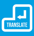 translate button icon white vector image vector image