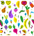vegetables and fruits seamless pattern funny vector image vector image
