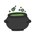 witch cauldron with green gurgling potion doodle vector image