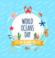world oceans day poster vector image