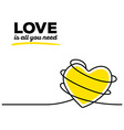 yellow color heart with black wire and te vector image