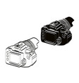 front view white and black camera vintage icon vector image