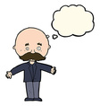 cartoon bald man with open arms with thought vector image