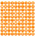 100 interior icons set orange vector image vector image
