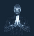 3d model of man man who prays concept vector image