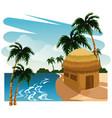 beautiful island cartoon vector image