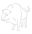 Black linebison on white background hand drawing