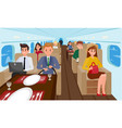 business class in airplane flat vector image vector image