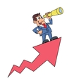 Businessman with telescope on arrow 2 vector image vector image