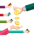 cash and credit cards payment concept flat design vector image
