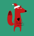christmas greeting card with funny fox vector image vector image