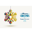Christmas holidays triangle snowflake card vector image vector image