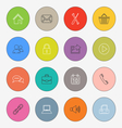 Collection colored rounds thin line icons template vector image vector image