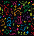 cute rainbow cats silhouette seamless pattern vector image vector image
