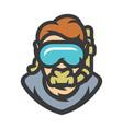 diver in underwater mask cartoon vector image vector image
